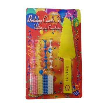 2 PACKS x BIRTHDAY PARTY CANDLE SET with CAKE SLICER / SERVER